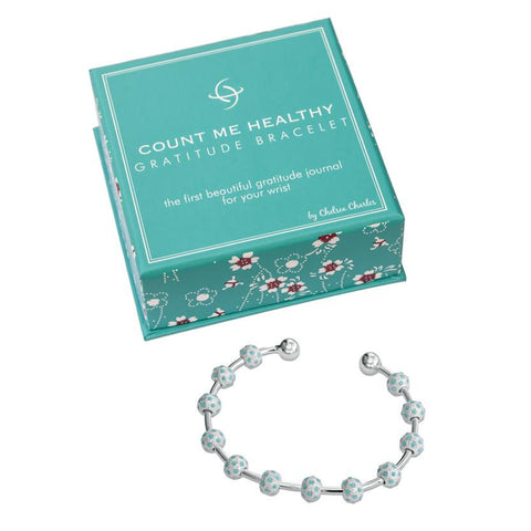 Count Me Healthy Turquoise & Silver Gratitude Journal Bracelet