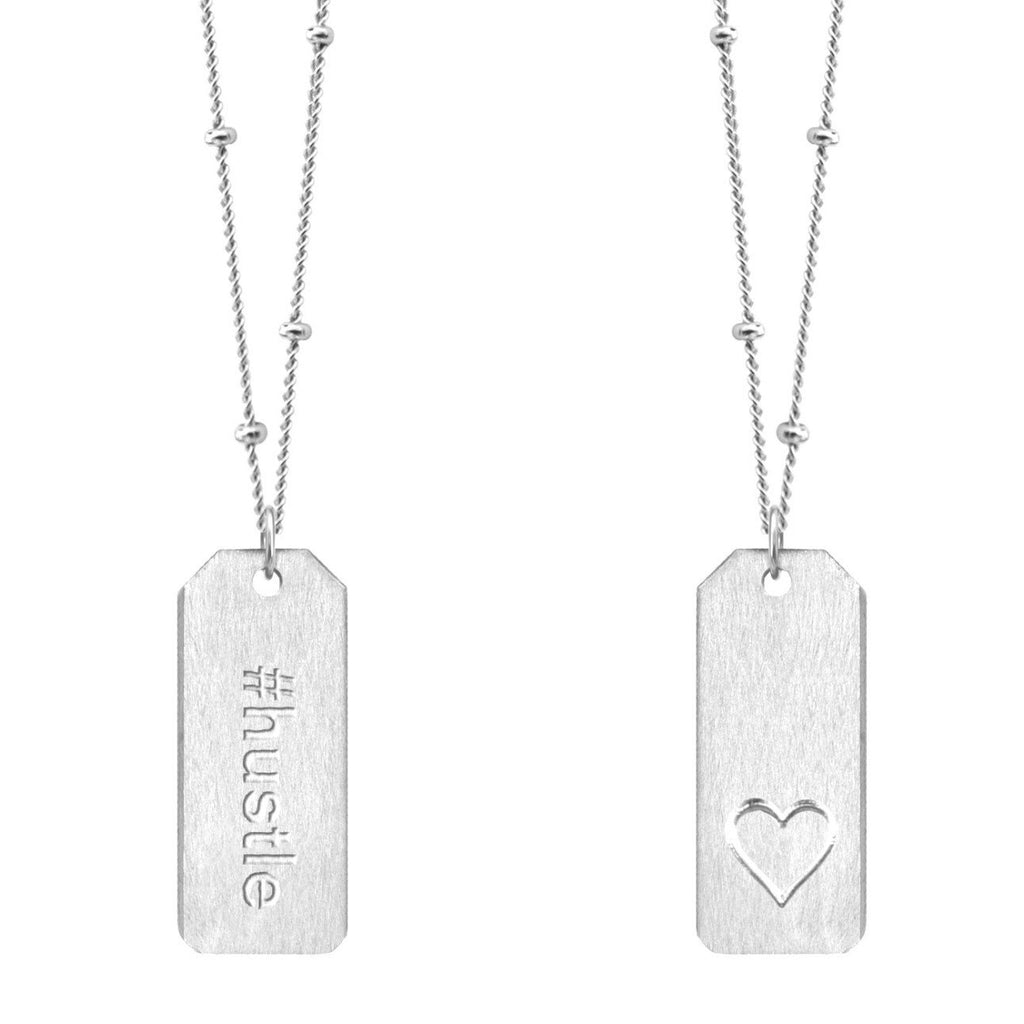 Chelsea Charles #hustle sterling silver Love Tag necklace