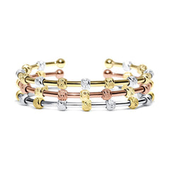 Count Me Healthy Laurel Two-Tone Bracelet Stack by Chelsea Charles