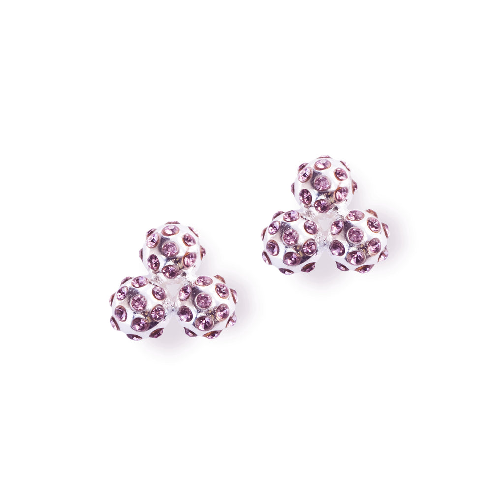 Silver and Lilac Crystal Cluster Earrings