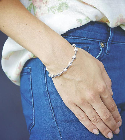 Count Me Healthy Silver Gratitude Journal Bracelet by Chelsea Charles