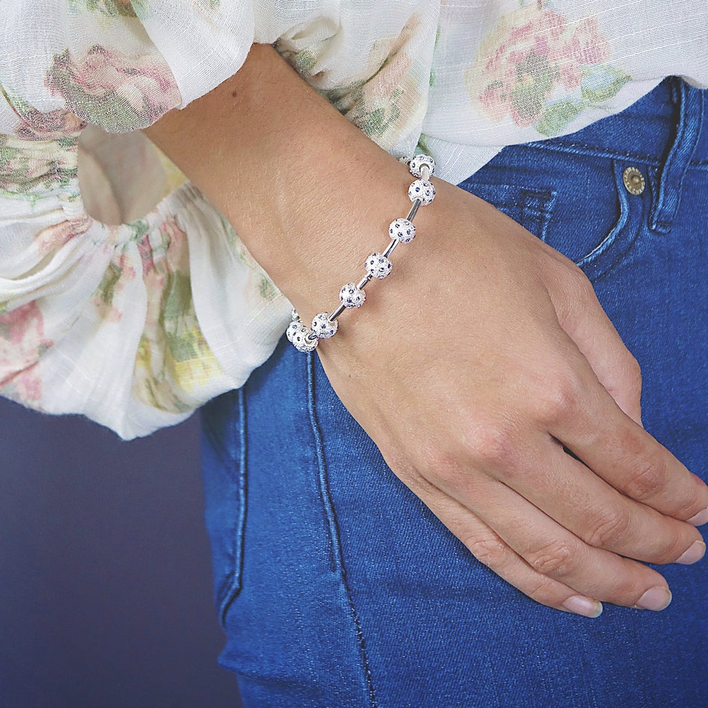Count Me Healthy Pale Sapphire Crystal Journal Bracelet by Chelsea Charles