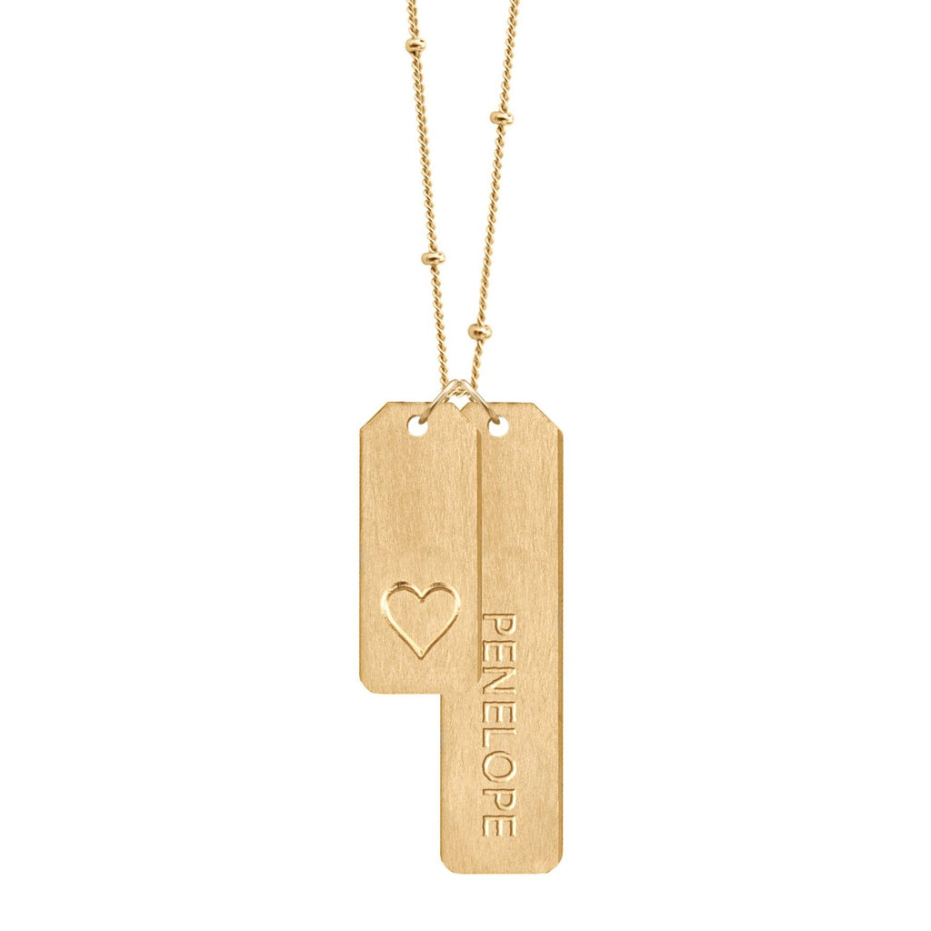 DESIGN YOUR OWN Double Love Tags Necklace With Long Bar (Two Tags on One Chain)