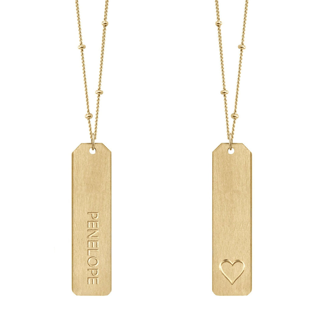 DESIGN YOUR OWN Double Love Tag Necklaces With Long Bar (Two Tags on Two Chains)