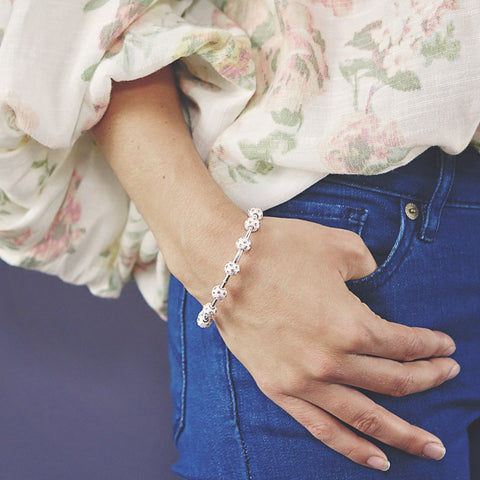 Count Me Healthy Peony Crystal and Silver Bracelet