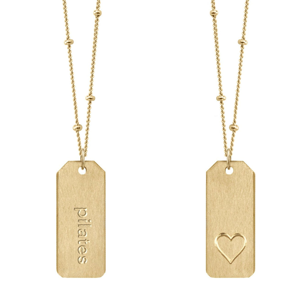 Chelsea Charles pilates gold Love Tag Necklace