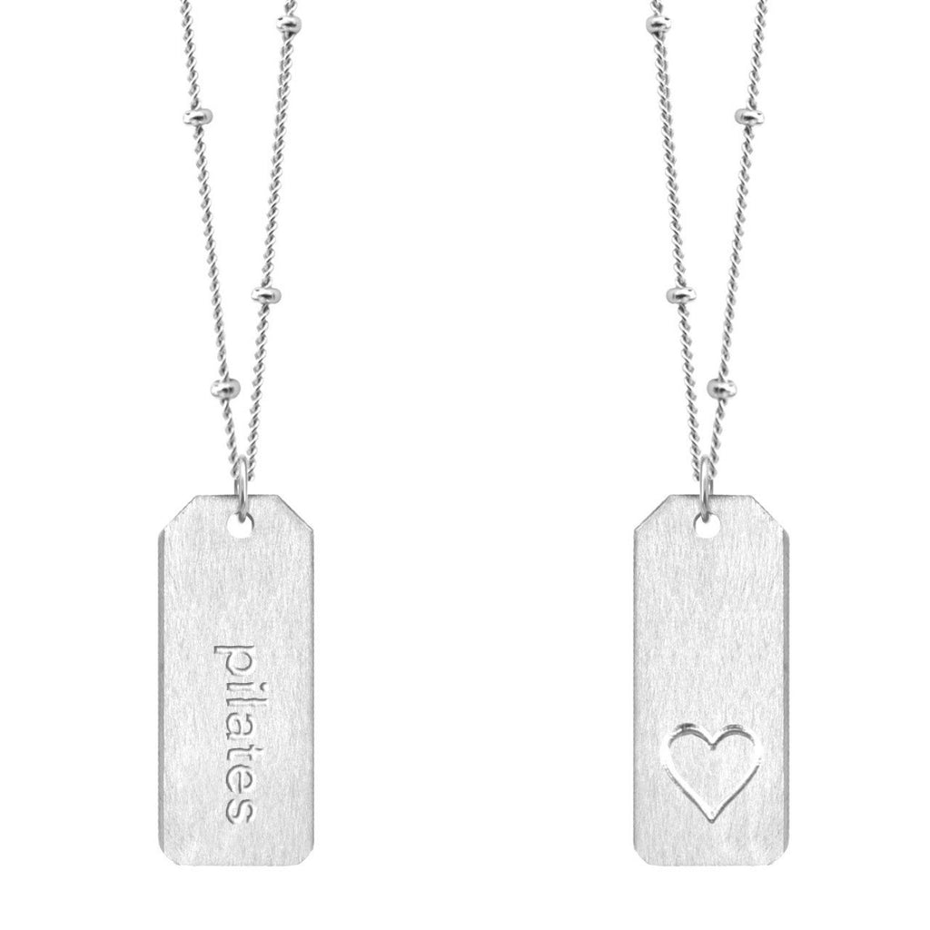 Chelsea Charles pilates sterling silver Love Tag necklace
