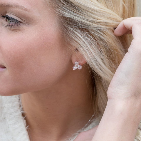 Silver and Peony Pink Crystal Cluster Earrings