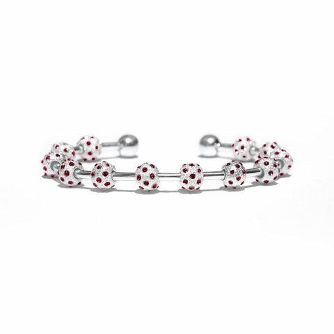 Count Me Healthy Ruby Crystal & Silver Bracelet (New)