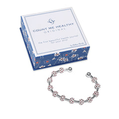 Count Me Healthy Ruby Crystal & Silver Journal Bracelet With Box