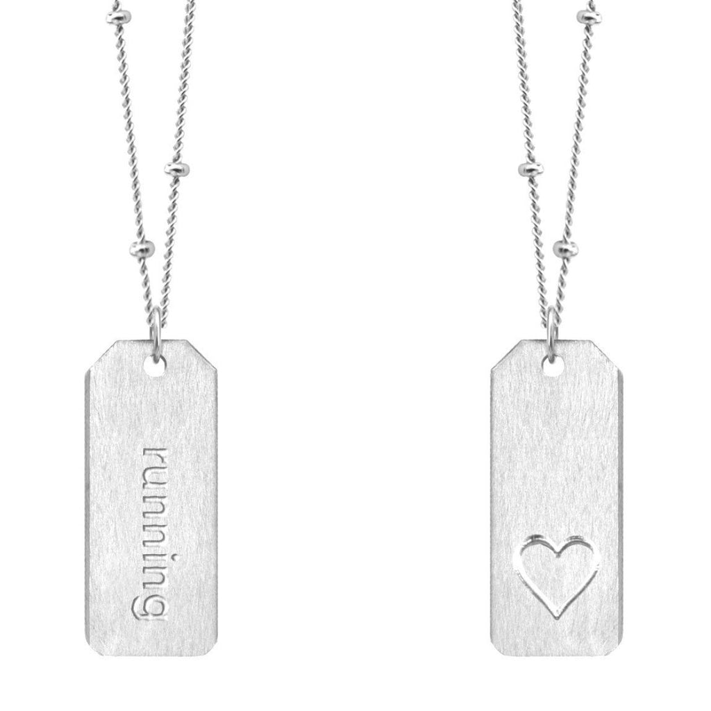 Chelsea Charles running sterling silver Love Tag necklace