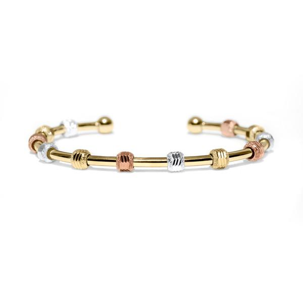 Count Me Healthy Tri-Color Gold Journal Bracelet by Chelsea Charles
