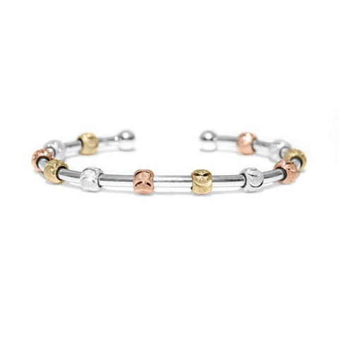 Galaxy Tri-Color Bracelet - Silver Cuff (Wave Beads)