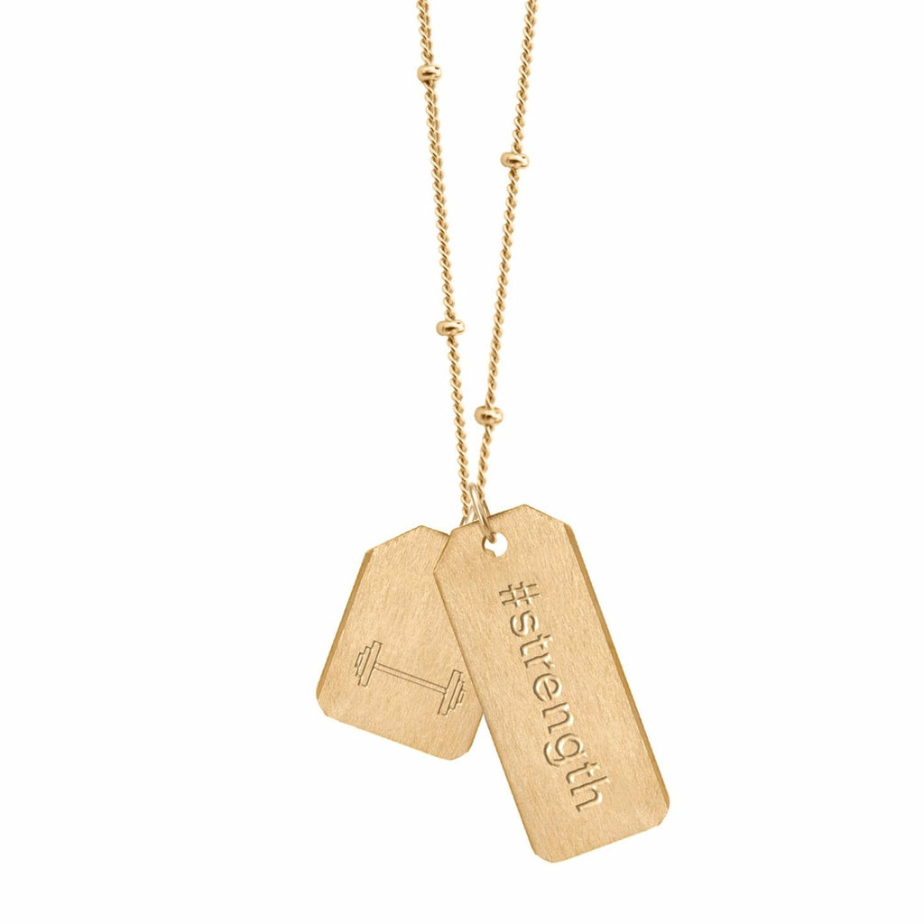 Double Love Tag Necklace - #strength + MINI BARBELL