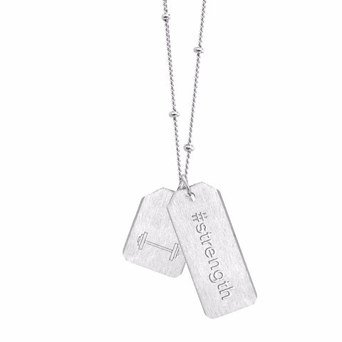Double Love Tag Necklace - #strength + MINI BARBELL (NEW)