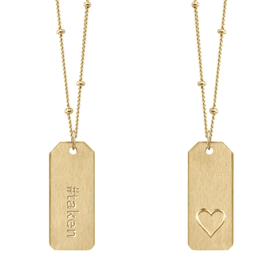 Chelsea Charles #taken gold Love Tag necklace