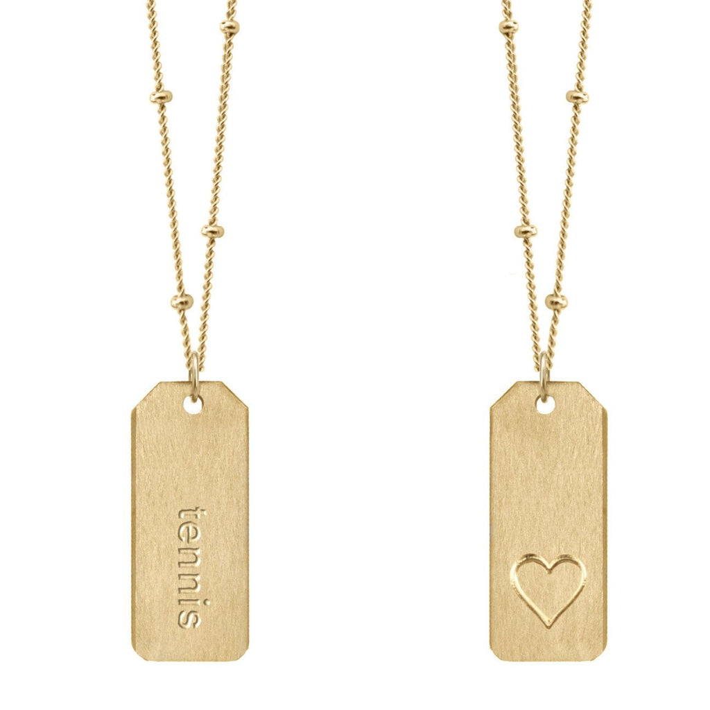 Chelsea Charle #tennis gold Love Tag necklace