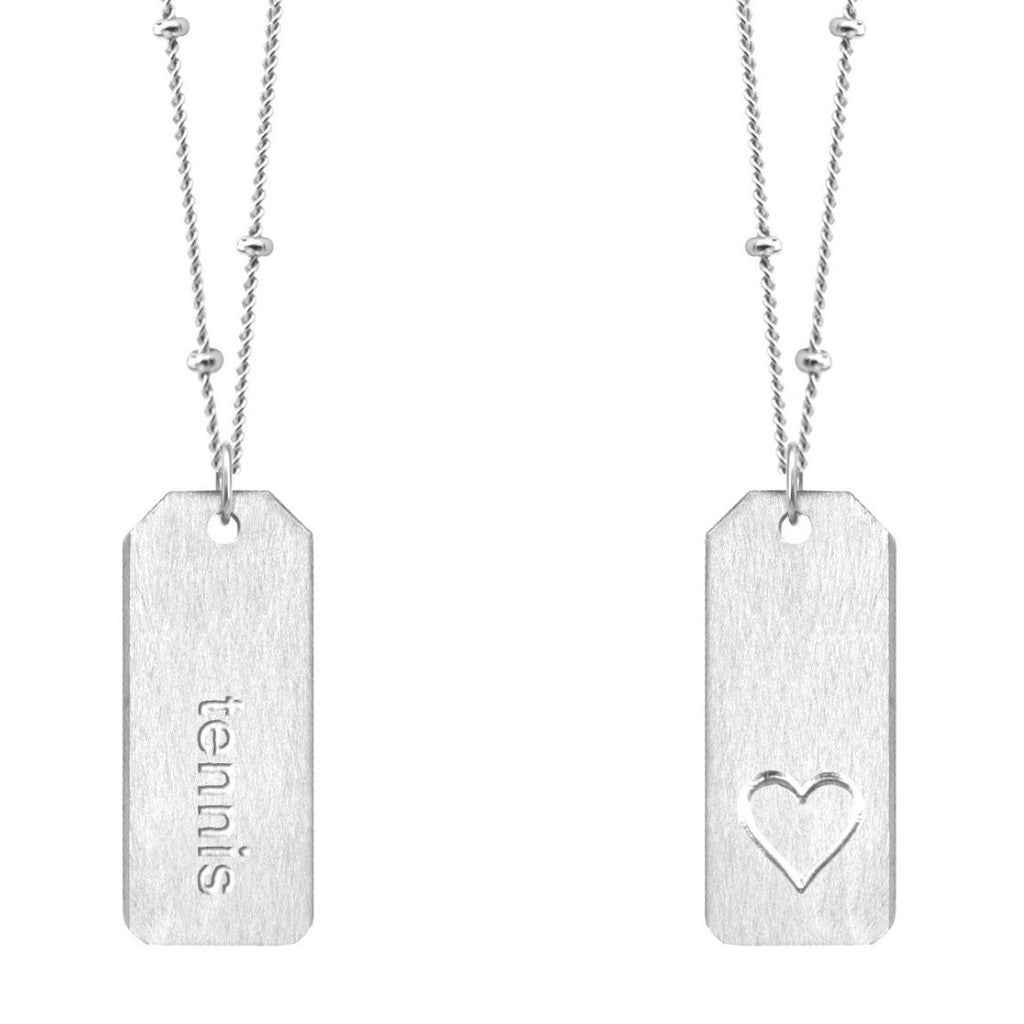 Chelsea Charles tennis sterling silver Love Tag necklace