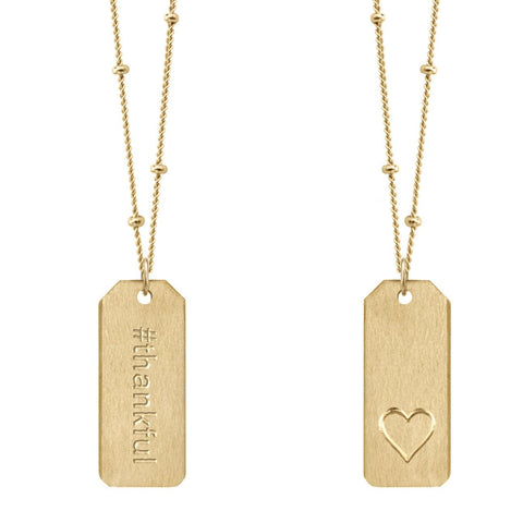 Chelsea Charles #thankful gold Love Tag necklace