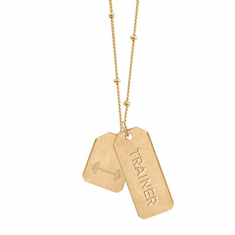 Double Love Tag Necklace - TRAINER + MINI BARBELL (NEW)
