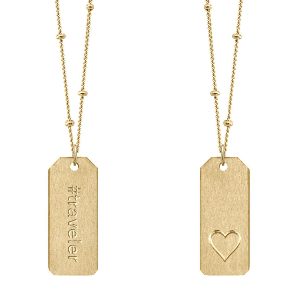 Chelsea Charles #traveler gold Love Tag necklace