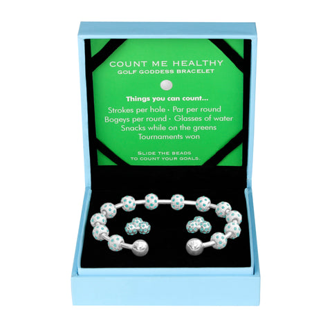 Golf Goddess Gift Set - Silver and Turquoise Stroke Counter Bracelet & Turquoise Cluster Earrings