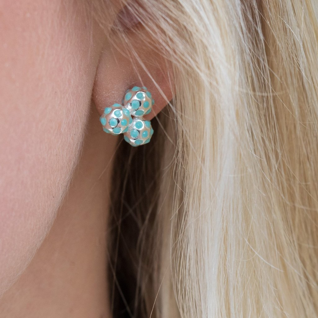 Vibrant Turquoise Crystal Cluster Stud Earrings