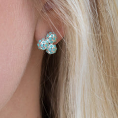Silver and Vibrant Turquoise Cluster Earrings