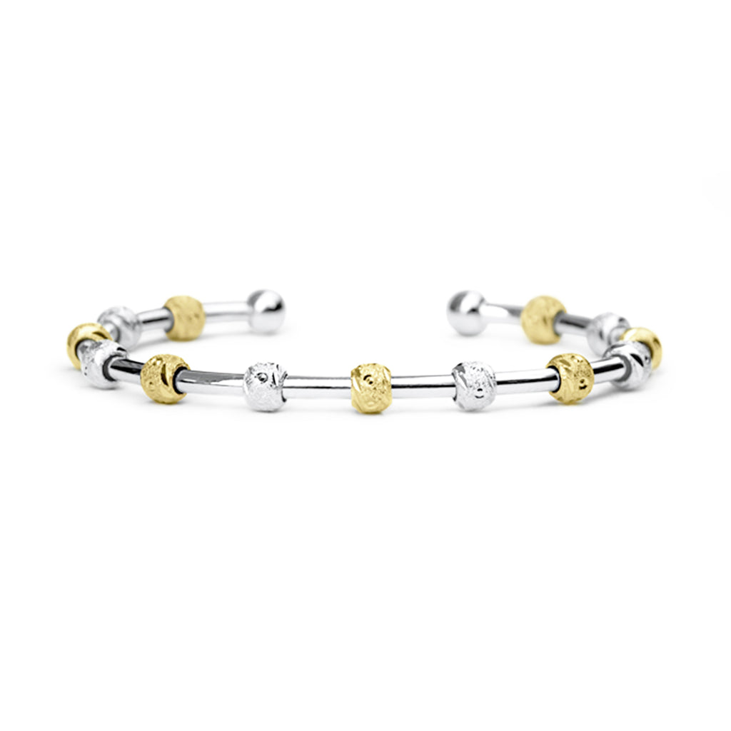 Count Me Healthy Laurel Silver and Gold Journal Bracelet by Chelsea Charles