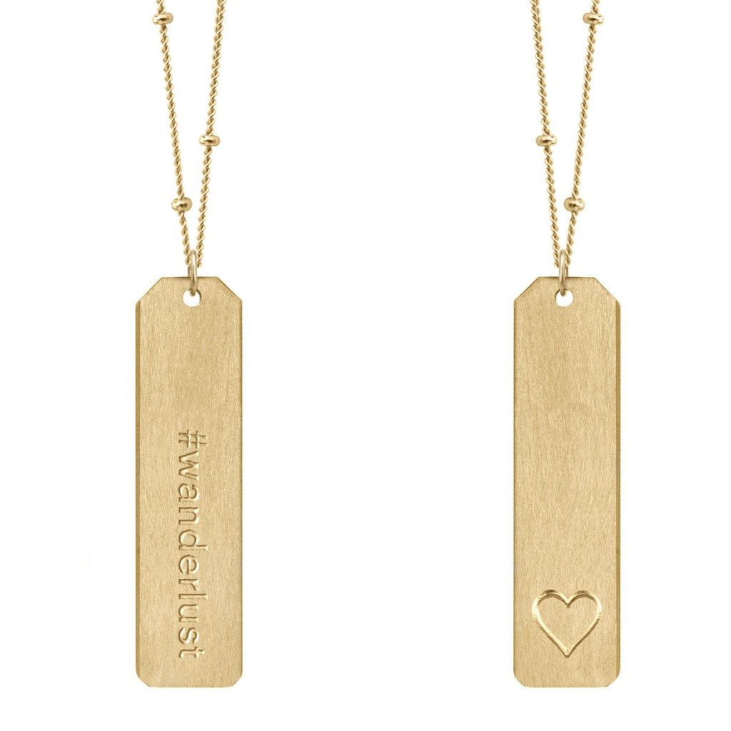 Chelsea Charles #wanderlust gold Love Tag necklace