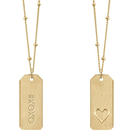 Chelsea Charles #XOXO gold Love Tag necklace