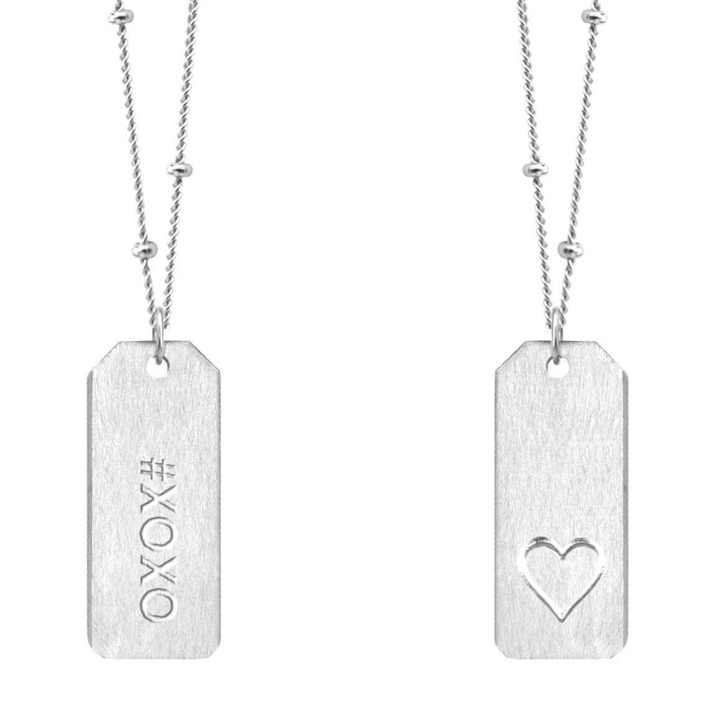 Chelsea Charles #XOXO Sterling Silver Love Tag Necklace