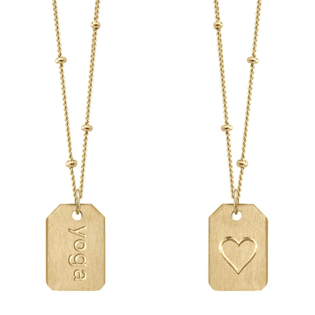 Chelsea Charles yoga gold Love Tag necklace