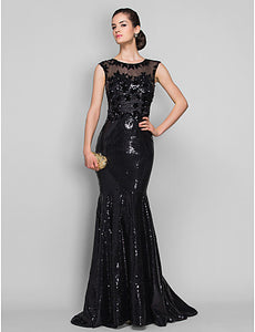 42c04c4c097f5 Mermaid / Trumpet Illusion Neck Sweep / Brush Train Tulle / Sequined  Sparkle & Shine / Beautiful Back / See Through Formal Evening Dress with  Sequin / ...