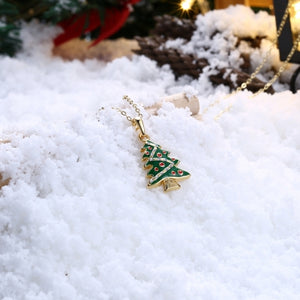Christmas Dripping Oil Christmas Tree Necklace White/Gold Plated - PrettyLadies