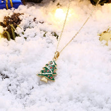 Load image into Gallery viewer, Christmas Dripping Oil Christmas Tree Necklace White/Gold Plated - PrettyLadies