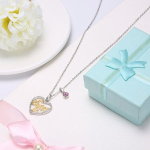 18/5000  S925 Sterling Silver Crystal Heart Pendant Necklace - PrettyLadies