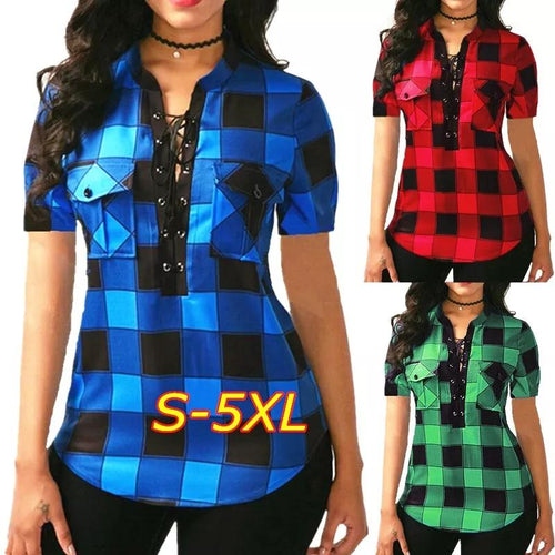 2019 Plus Size Summer Women Fashion Sexy V-neck Lace Up Plaid Blouse Tops Irregular Short Sleeve Shirt S-5XL