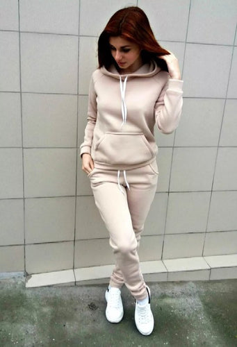 Tracksuits Sleeve Hooded Sweatshirts+ Long Pants Two Piece Set Sportsuit