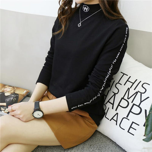 First Version Fashion Trend Slim Section Boss Long Sleeves T Shirt Set Up Coat Bottom Blouses