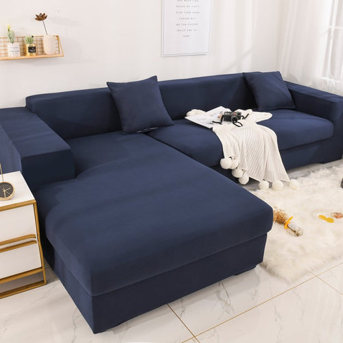 1PC Solid Color Elastic Sofa Cover Spandex Modern Polyester Corner Sofa Living Room 1/2/3/4 Seater  L shape need buy 2piece