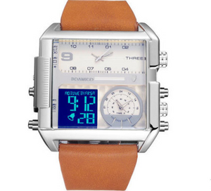 Men Sports Watches Man Military chronograph digital Watch Leather Rectangle Quartz - PrettyLadies