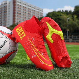 Variety Of Printed Spike Football Boots, Rubber Sole, Fashion Front Lace-up Sneakers, Mid-top Lightweight Football Boots-