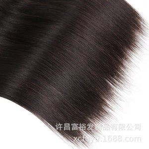 Real Human Hair Wig Hair Curtain 1b# Remy Human Hair Straight Wave Xuchang Factory Outlet