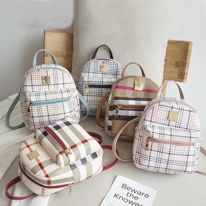 Summer Autumn Style Shoulder Bag College Style Fashion All-match One-shoulder Check Small Backpack