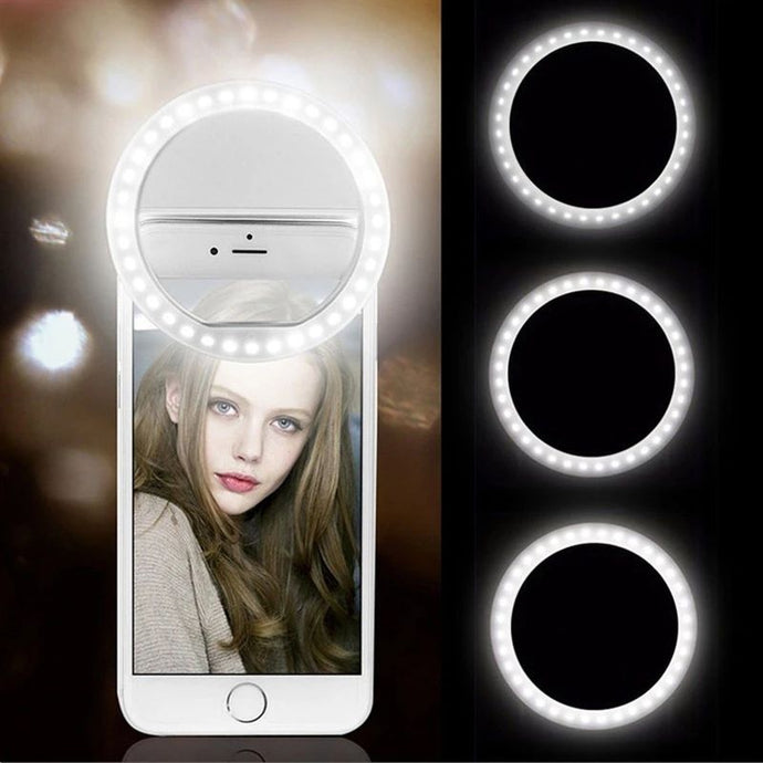universal selfie lamp mobile phone lens portable flash ring 36 leds ring clip light for iphone 11 8 7 6 samsung