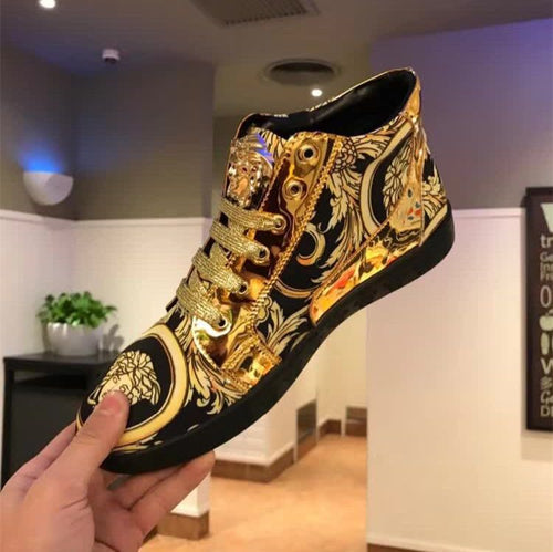 Hot Medusa Trendy Men' Casual Sneakers Fashion Patent Leather Printed Shoes Social Personality Lace High-top Shoes