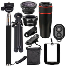 Load image into Gallery viewer, 10 in 1 Smartphone Camera Lens Cell with Clip Universal Optical Telescope Kit Mobile Zoom - PrettyLadies