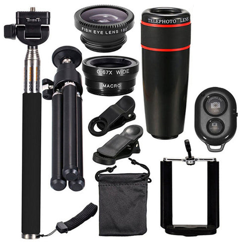 10 in 1 Smartphone Camera Lens Cell with Clip Universal Optical Telescope Kit Mobile Zoom - PrettyLadies