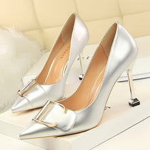 Load image into Gallery viewer, 2018 New high heels women pumps 9.5CM thin heel Career Patent leather metal belt buckle Pointed Toe sexy prom wedding shoes - PrettyLadies